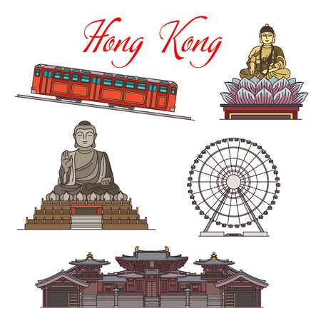 Hong Kong travel landmark vector icons design. The Big Buddha of Buddhist temple, Observation Wheel, Maitreya Hall at Chi Lin Nunnery, Peak Tram funicular railway and Buddha statue in Lotus flower