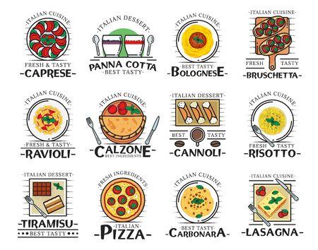 Italian food thin line icons of restaurant, cafe and pizzeria vector design. Pizza, pasta and spaghetti, tomato mozzarella and basil salad with bruschetta bread, risotto, ravioli, lasagna and desserts Imagens - 132118355