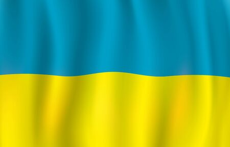Flag of Ukraine 3d vector design of blue and yellow Ukrainian banner. Waving bicolour, national symbol of Ukraine. Travel, geography and history of Europe concept