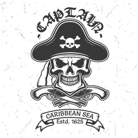 Pirate skull vector t-shirt print of apparel fashion design. Skeleton head in captain hat, crossbones and guns, bandana and vintage ribbon banner with grunge effect
