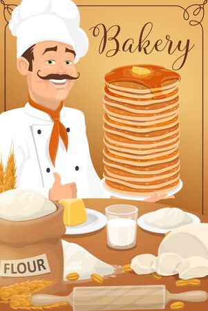 Pancakes of bakery or pastry shop, dessert food design. Baker in chef hat with stack of thin cakes or crepes, maple syrup and honey, butter, flour bag and dough, cereal ears, grains and rolling pin Иллюстрация
