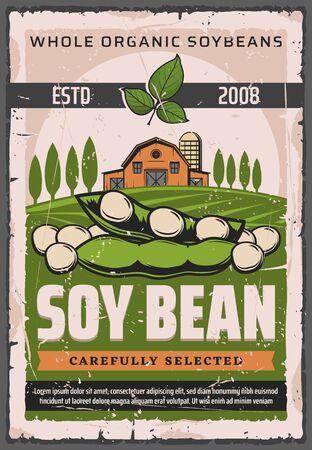 Baccelli di soia della pianta di soia sul campo di fattoria verde con disegno vettoriale di fienile e alberi. Semi o cereali di legumi di soia, fonte vegetariana di proteine, poster vintage di agricoltura e mercato agricolo Vettoriali