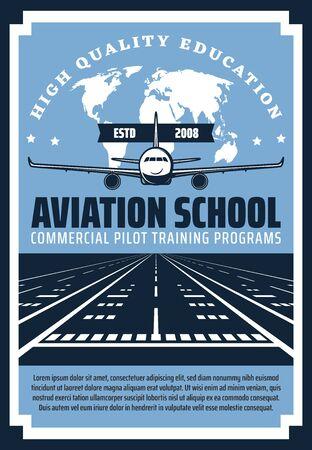 Avión aterrizando en la pista del aeropuerto de diseño vectorial. Avión con mapa del mundo en el cartel retro de fondo de la escuela de aviación y formación de pilotos comerciales, tema educativo