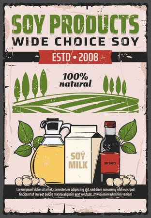 Soybean food products vector design of soy plant beans, oil and sauce bottles, milk pack and legume green leaves with farm field on background. Natural vegetable protein and vegan meal retro poster