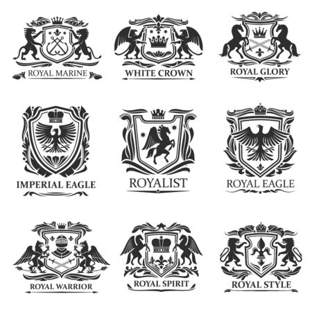 Insignes et emblèmes de bouclier vector design de l'héraldique royale. Armoiries héraldiques avec des lions, des aigles et des couronnes de roi, des épées de chevalier, des casques et des chevaux, des griffons, des pégases, des fleurs de lys et des rouleaux de feuilles