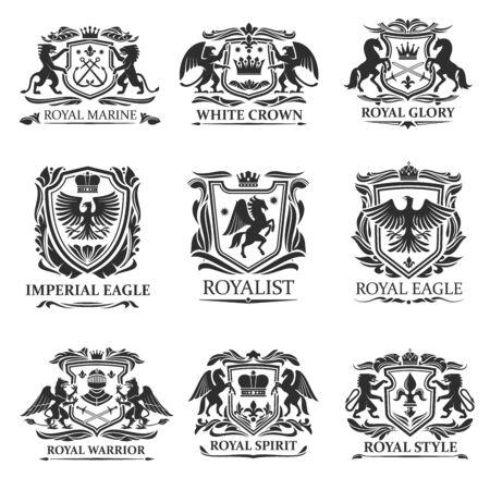 Schildabzeichen und Embleme Vektordesign der königlichen Heraldik. Heraldisches Wappen mit Löwen, Adlern und Königskronen, Ritterschwertern, Helmen und Pferden, Greifen, Pegasus, Lilie und Blattrollen