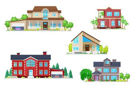 Maison et construction de maisons icônes vectorielles de chalets de village avec toits, portes et fenêtres, garages, cheminées, arbres de jardin et herbe verte. Thèmes de l'immobilier, de l'architecture et de la construction