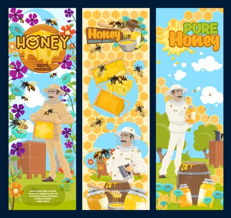 Bee honey, natural sweet food of beekeeping farm banners with beekeeper and apiary bee hives. Vector honeycombs, honey jars and flowers, beeswax, dippers and apiarist in protective suit and hat Ilustração