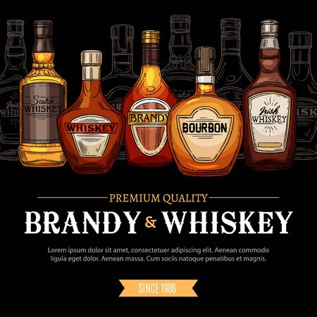 Brandy and whiskey elite alcohol drinks. Vector Irish and Bourbon whiskey sketches and glass bottles high spirit drinks, party beverages. Vodka and cognac, scotch and gin, brandy and rum retro spirits Illusztráció