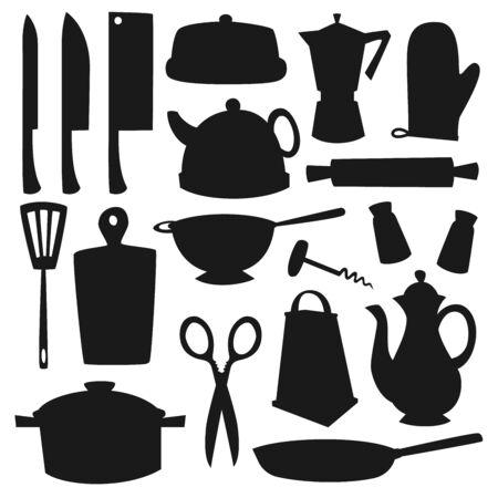 Utensili da cucina e posate sagome nere di disegno vettoriale di stoviglie. Coltelli, pentola, saliera e pepa, padella, teiera e grattugia, spatola, caffettiera, scolapasta e mattarello