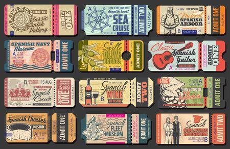 Ticketvorlagen für spanische Museen, Musikkonzerte und Seekreuzfahrten, Messen, Olivenfarmen und Eintrittsveranstaltungen für Weinberge. Vektor-Eintrittsgutscheine mit Gitarre, Käse und Helm, Wein, Trauben und Keramik