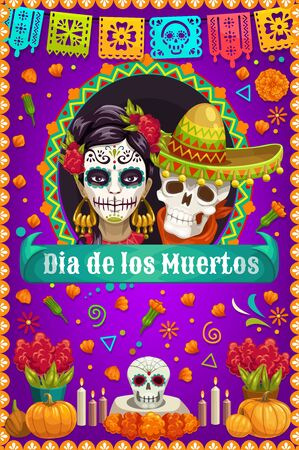Day of the Dead skulls and death Catrina vector design of Mexican Dia de los Muertos. Sugar skulls and skeletons with marigold flowers, music festival flags and sombrero, altar with candles, pumpkins Standard-Bild - 132118362