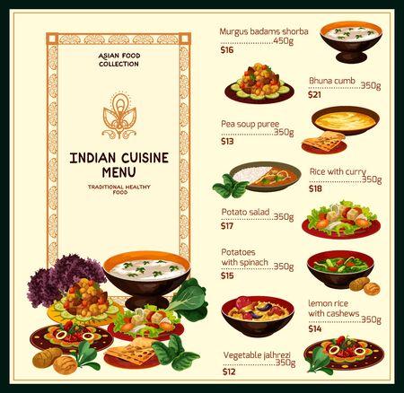 Szablon wektor menu restauracji indyjskiej ryżu z curry mięsne i dania warzywne. Zupy z kurczaka i soczewicy, jalfrezi, szpinak ziemniaczany i bhuna z jagnięciny, pilau z cytryną i orzechami nerkowca, sałatka ziemniaczana
