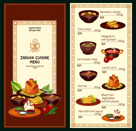 Indian restaurant menu vector template of Asian cuisine meat and vegetable dishes. Rice with green chutney, chicken spinach, egg and lamb curries, tomato cream soup, deep fried peppers and bananas Stock Vector - 131464718