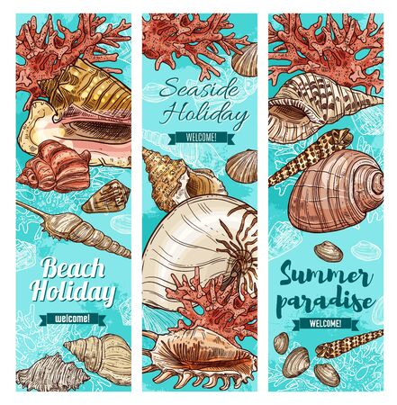 Seashells and corals sketch banners of summer paradise and beach holiday vector design. Sea shells of tropical ocean mollusk, marine snails and clams, scallops, conchs and pink corals