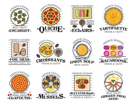 French cuisine dishes with meat, vegetable, seafood and dessert icons. Vector croissant, ratatouille and quiche pie, mussels, clafoutis tart and escargot snails, onion soup, foie gras and macaron Illustration