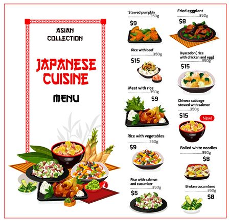 Japanese cuisine restaurant menu template of vector Asian rice dishes with vegetables, meat and fish. Beef, salmon, chicken and eggs with rice, noodles, cucumber and pumpkin salads, fried eggplant