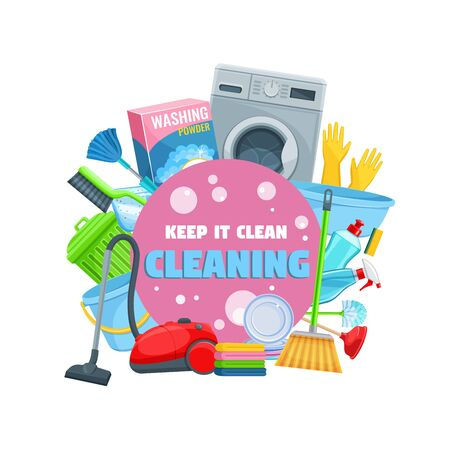 House cleaning tools, detergents and household equipment vector icon of cleaning service and housework design. Broom, spray and sponge, vacuum, bucket and mop, soap, washing machine, gloves and brush Stock Illustratie