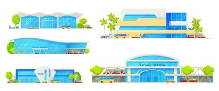 Railway station building vector icons of transportation and architecture themes. Train stations with platforms, modern roofs and glass steel facades, entrances, parkings and streets with trees