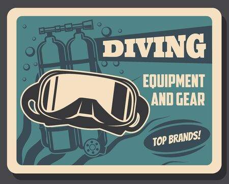 Diving equipment and scuba diver gears retro banner. Vector underwater diving mask and self contained underwater breathing apparatus or aqualung, oxygen bubbles and seaweed Illusztráció