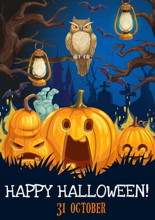Horror pumpkins, bats and owl, Halloween greeting card vector design. Spooky lanterns hanging on creepy trees of graveyard and haunted house, tombstone with zombie hand and fear monsters