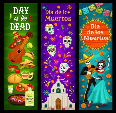 Dia de los Muertos sugar skulls and skeletons vector design of Day of the Dead. Mexican religious holiday church, marigold flowers and sweet bread, musical festival guitar, sombrero hat and tequila Фото со стока - 133938542