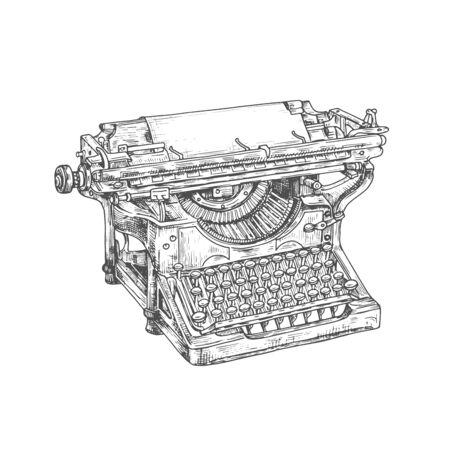 Schizzo della macchina da scrivere della macchina da scrivere vintage. Macchina da scrivere desktop meccanica vettoriale con foglio di carta e vecchia tastiera. Design retrò di attrezzature per autori, giornalisti o segretarie