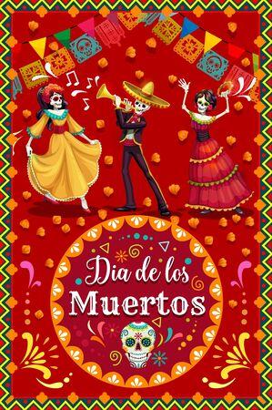 Esqueletos bailando de Catrina y mariachi con calavera de azúcar del Día de Muertos. Esqueletos vectoriales con sombrero de festival de música y traje de flamenca, flores de caléndula y banderas de papel, trompeta y pandereta Ilustración de vector
