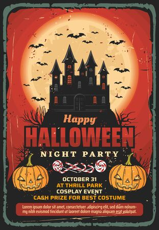 Halloween haunted house, horror night party vector invitation. Spooky pumpkins with trick or treat candies, Dracula vampire castle, bats and full moon, retro poster design of religious holiday