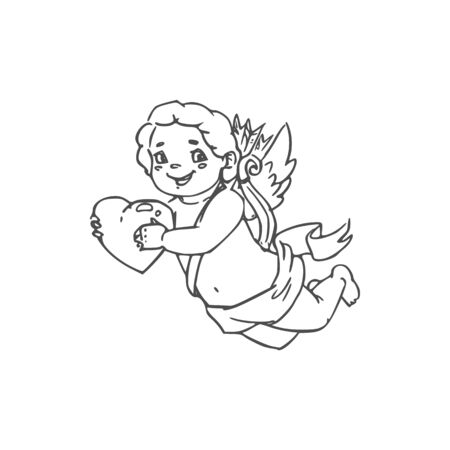 Smiling Cherub with heart in hands isolated Cupid. Vector Valentines day symbol Amur winged boy
