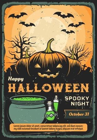 Halloween pumpkins, bats and full moon on graveyard with spooky tombstones, creepy trees, witch potion cauldron and bottles vector design. Halloween night spooky monsters invitation poster