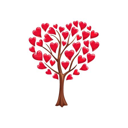 Love tree with heart leaves isolated. Vector Valentines day romantic abstract plant