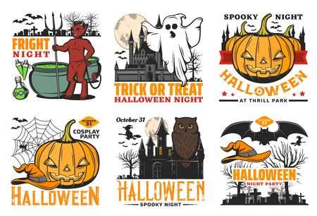 Halloween pumpkin vector icons with ghost, bats and witch, moon, spiders and net, owl, devil and haunted house, black magic potion cauldron and graveyard. Horror night holiday celebration design