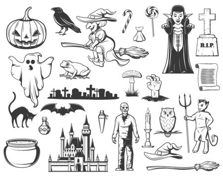 Halloween sketches with vector horror ghost, pumpkin and witch, Dracula vampire, bat and black cat, owl, trick or treat candies and zombie, graveyard, gravestone, haunted house. Horror holiday design Çizim
