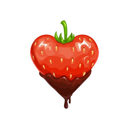 Strawberry in chocolate isolated berry. Vector heart shape fruit in choco topping Vettoriali