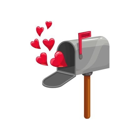 Open mailbox with hearts and red flag isolated. Vector post box, Valentines day letterbox