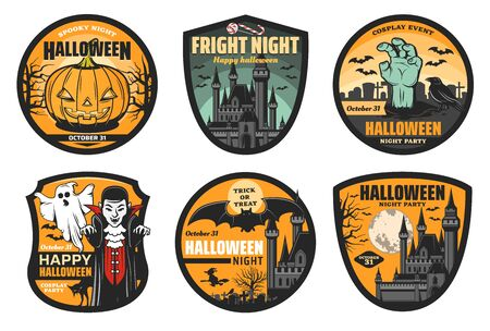 Halloween vector badges with spooky pumpkin, ghost and bats, witch, black cat and zombie hand, moon, haunted house and creepy graveyard trees. Halloween trick or treat night party emblems design Фото со стока - 132118177