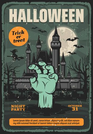Halloween vector card with zombie hand on graveyard, haunted house, moon and bats, witch with broom, spooky cemetery trees and gravestones. Horror night trick or treat party invitation design Иллюстрация