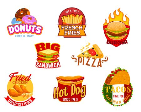 Fast food icons of vector burger, pizza and hamburger, sandwich, hot dog and mexican taco, fried chicken, french fries and glazed donut. Fast food restaurant, cafe, pizzeria and bistro emblems design Ilustração