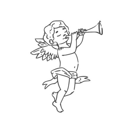 Valentines day symbol, Cupid boy playing on trumpet isolated. Vector naked Amur with wings Illustration