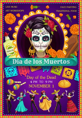 Day of the Dead Catrina with dancing skeletons vector design. Mexican Dia de los Muertos sugar skull, marigold flowers and tequila, musical festival guitar, sombrero and maracas, bread and coffin Иллюстрация