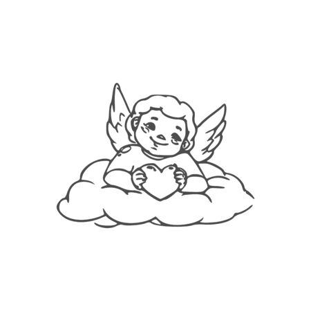 Romantic Cupid with heart in hands isolated on cloud. Vector winged Amur, symbol of love Illustration