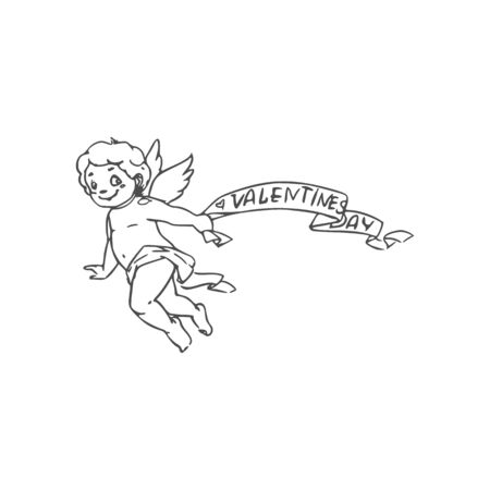Winged naked Cupid with Valentines day greetings isolated outline kid. Vector Amur symbol of love
