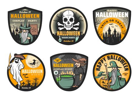 Halloween ghost and monsters vector badges. Horror pumpkin, skeleton skull and witch, moon, bats and spiders, wizard, haunted house and graveyard with potion cauldron, spellbook and black magic wand Фото со стока - 132118182