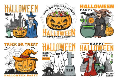 Halloween ghost, pumpkin, bat and spider vector icons with horror night monsters. Witch, black cat and zombie, trick or treat candies, evil wizard and haunted house, graveyard and gravestones Фото со стока - 132118183