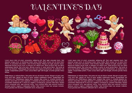 Valentines Day Cupids, romantic love hearts and gifts. Vector banner with border of chocolate cake, flower bouquets and candies, kiss lips, roses and Amur arrows, wine, candles and boxes with ribbons