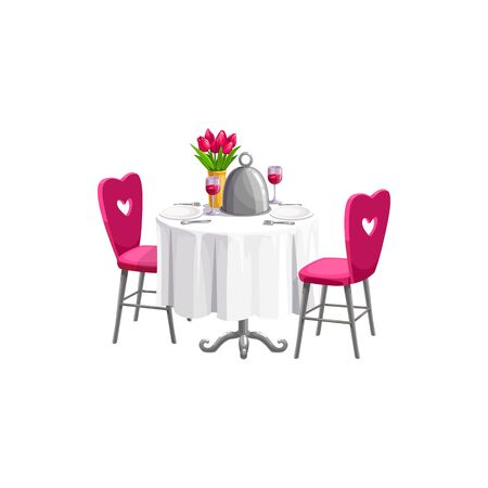 Romantic table served by plates, wineglasses and flowers isolated. Vector Valentines day dinner