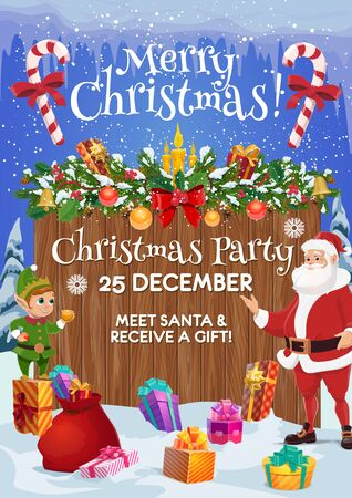 Christmas party invitation vector design with Santa, elf and Xmas gifts, New Year festive garland, presents and bell, balls and candies, snow, holly berry and red ribbon bow. Winter holidays themes