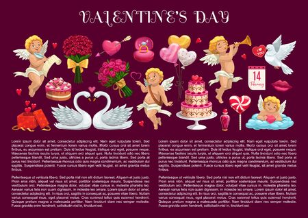 愛の心、ロマンチックな休日の贈り物とバラの花の花束とバレンタインデーのバナー。結婚指輪、チョコレートケーキと風船、キャンディ、キュー
