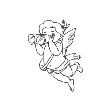 Amur winged boy in diaper isolated Cupid. Vector outline Eros with binoculars searching lovers
